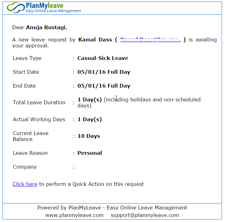 View of leave request waiting for approval